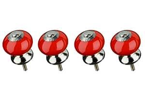 Premier Housewares 2490004 Lot de 4 Poignées de Porte/Tiroir de Meuble Style Vintage en Céramique Rouge