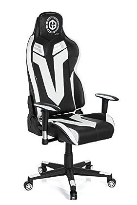 hjh OFFICE 734130 silla gaming GAMEBREAKER VR 12 piel sintética negro / blanco silla racing oficina