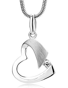 Orovi Kette, Damen Silber Halskette 925 Sterling Silber Zirkonia Halskette mit Herz Anhänger, Kette 45cm