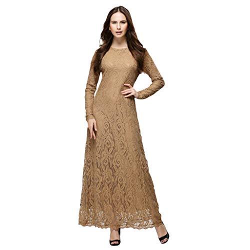Scolor Saris Muslim Islamisches Kostüm für Frauen Mädchen Bezaubernde Damen Wunderschönes Spitzendesign Reisekleid(Kaffee,M) - Braun Baumwolle Salwar