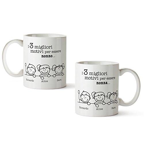 Set 2 tazze in ceramica bianca con stampa - i migliori motivi per essere nonna e nonno - personalizzate con [nomi] dei nipoti - tazze da tè - regalo originale per i nonni - regali di natale
