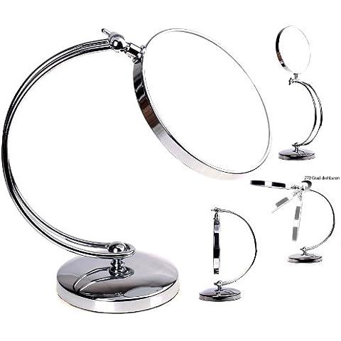 HIMRY® Doppio specchio / cosmetico specchio / trucco / Specchio cosmetico / vanity mirror, 8 pollici, ruotabile di 360 °. 2 facciate: lato normale e lato con ingrandimento 7x , cromato, KXD3110-7x