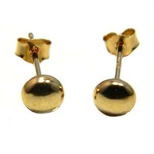 Arranview Jewellery Boucles d'oreilles à tige en forme de bouton Or 9ct 4mm
