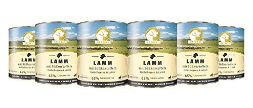 Hundeland Natural   Lamm + Süßkartoffeln   6 x 800 g   getreidefreies Hundefutter   Nassfutter für alle Hunderassen   viel frisches Fleisch   artgerecht & besonders gut verträglich (Geräucherter Ente)