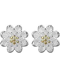 CS priorité Fleur Boucles d'oreilles clous de haute qualité Little Lotus Boucles d'oreilles plaqué argent idéal cadeau pour femmes Mesdames