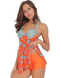 d3fb9ab5d9980 TRESXS Women s Sexy Polka Bikini Dress Plus Size Swimwear Retro Beachwear  Halterneck Swimsuit with Boyshort