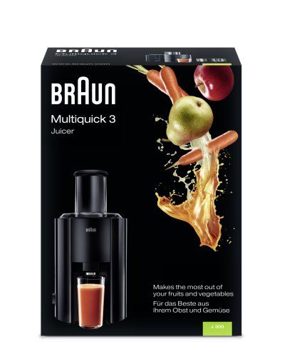 Braun J300 Multiquick Juicer - Licuadora Exprimidor, 800 w, 2 velocidades, jarra de zumo 1,25 l, negro