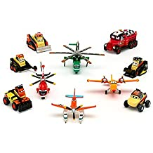 DISNEY PLANES FIRE & RESCUE DELUXE FIGURE PLAY SET - Pontoon Dusty, Blade Ranger, Windlifter, Lil' Dipper, Mayday, Dynamite, Avalanche, Blackout, Drip, Pinecone (PVC, Plastic)
