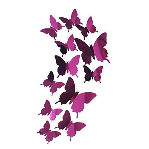 Tefamore Pegatinas de pared Calcomanía mariposas Espejo 3D Mural Decoraciones para el Hogar (Rosas fuertes)