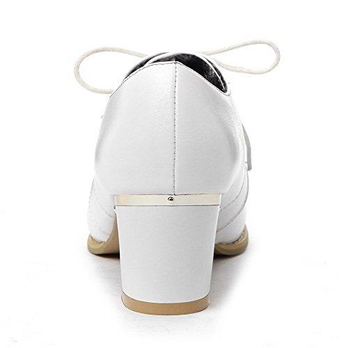 VogueZone009 Donna Scarpe A Punta Tacco Medio Finta Pelle Scamosciata Colore Assortito Allacciare Ballerine Bianco