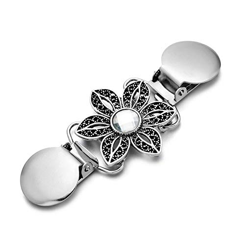 Vi.yo Damen brosche entenschnabel Clip Kleidung Kette Strickjacke Engen Pullover Clip Broschen Pin Anstecknadeln für Shirt Kleiden acryl (Blume Strass)