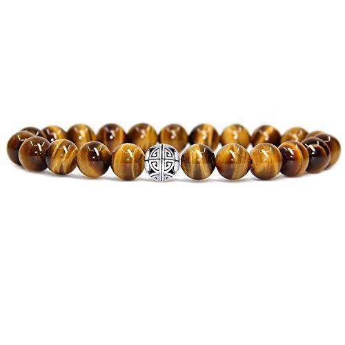 MetJakt 8mm Naturstein Tigerauge/Red Coral Rock Diffuser Armband elastische Yoga-Achat-Korn-Armband-Armband mit 925 Sterlingsilber-Doppelt-Glück-Anhänger (Tigerauge)