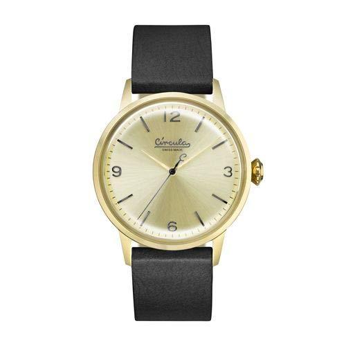 CIRCULA Klassische Uhr Analog mit Lederarmband - Swiss Made, Ronda Quarzwerk, Vintage-Stil, Retro-Design (Champagne)