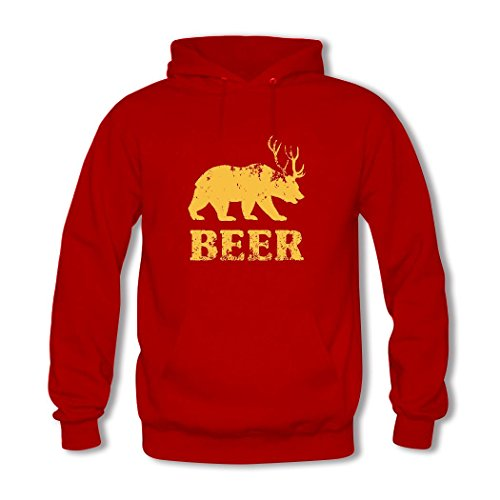 HGLee Printed Personalized Custom Bear Deer Beer Classic Women Hoodie Hooded Sweatshirt Red--1