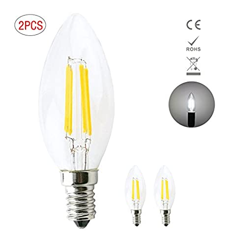 1819 2 Pack E14 LED Candle Filament Bulbs 4W, 40W Clear Candle Bulbs Equivalent , Warm White Candelabra E14 SES Bulb, 360 Degree Beam Angle, Non-Dimmable, 400Lm, LED Light Bulb, Small Edison Screw Candle Light Bulbs