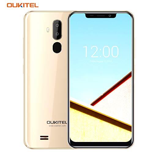 OUKITEL C12 Pro Telephone Portable Pas Cher 4G, Android 8.1, 6.18 Pouces 19.9 HD IPS, MT6739 1.5GHz Quad Core, 2Go RAM, Double Caméras 8MP, Dual SIM, 3300mAh, Smartphone Debloqué - Or