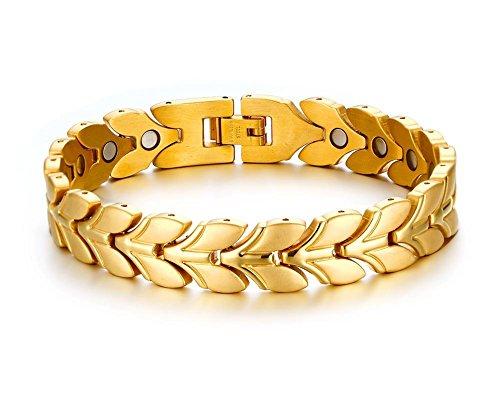 Vnox Herren Damen Edelstahl Weizen Mais Magnet Armband Gold,21 cm