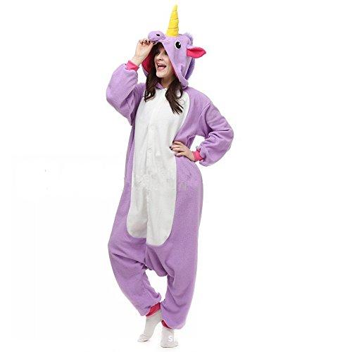 Pigiama jysport, in pile, con motivo: unicorno, con cappuccio, per donna, uomo, bambini., purple, taglia unica