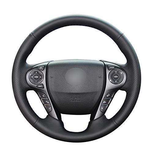 DYGDHAA Schwarzer PU-Leder-Auto-Lenkradbezug für Honda Accord 9 2013 2014 2015 2016 2017 Crosstour 2013 2014 2015-grauer Faden (Honda Accord 2015 Leder)