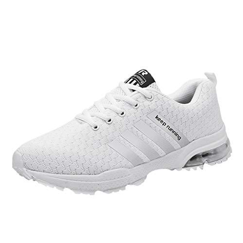 feiXIANG Unisex-Erwachsene Sneakers Herren Damen Turnschuhe Atmungsaktiv Mesh Schnürer Sportschuhe (Weiß,39)