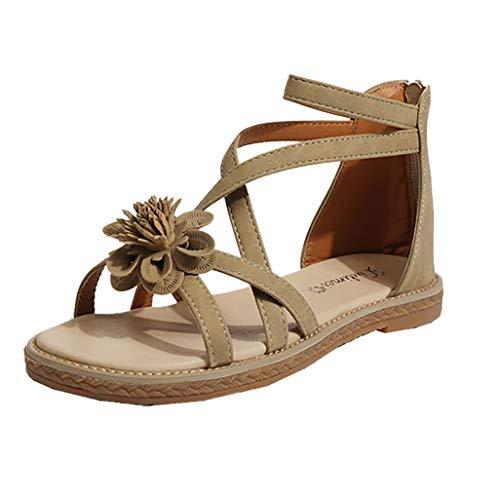 Vovotrade Bohemian Sandals Damen Open Toe Flower Bag mit Damen Sandalen flach mit atmungsaktivem Rücken Reißverschluss Damen Sandalen Schwarz, pink, beige 35-40 (Flower Sandal Pink)