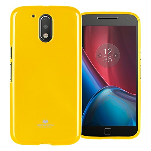 Mercury Marlang Moto G4 Hülle, Moto G4 Plus Hülle/Gratis Displayschutzfolie [Slim Fit] TPU Case [Flexible] Pearl Jelly [Schutz] Bumper Cover für Motorola MotoG4 / G4Plus, gelb Verizon Wireless Pearl