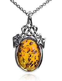 Honey Amber Sterling Silver Mouse Pendant Rolo Chain 46 cm