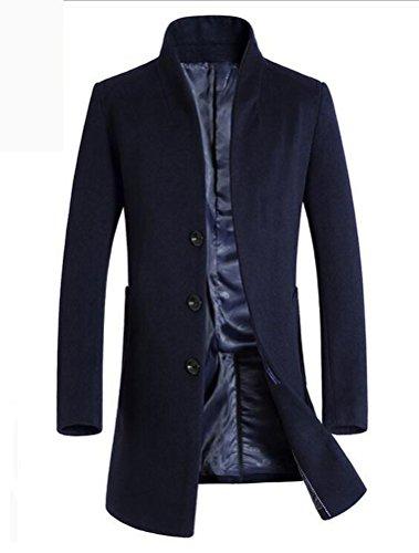 Vogstyle Homme Manteau De Laine Simple Boutonnage Hiver Bleu matelassée