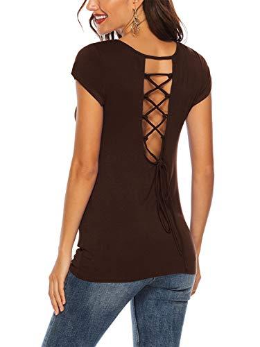 Lace-up-back Top (Beluring Kurzarm T-Shirt Sommer Damen Sexy Bluse Lace Up Oberteil Tops Criss Cross Back Braun 2XL)