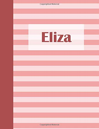 Eliza: Personalized Composition Book | School Notebook, College Ruled (Lined), Pastel Pink Stripe Pattern with First Name -