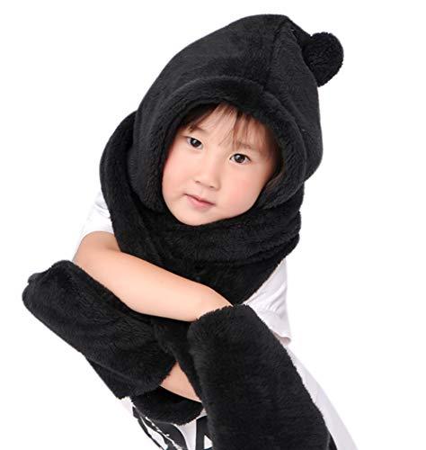 LONTG Mütze Schal Handschuhe 3 in 1 Dick Verdicken Wintermütze Plüschmütze für Kinder Mädchen Jungen Winter Plüschmütze modische Tiermütze warm Skimütze- Gr. Einheitsgröße, Schwarz