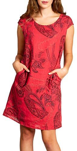 Caspar SKL022 knielanges Damen Sommer Leinenkleid mit Paisley Print bis Größe 50, Farbe:rot, Größe:S - DE36 UK8 IT40 ES38 US6 (Rote Kleider In Plus-größe)