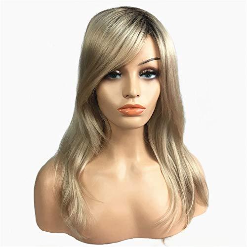 Femmes épaule longueur droite blonde en couches moyennes taille perruques synthétiques perruques cosplay comme perruque de cheveux réel