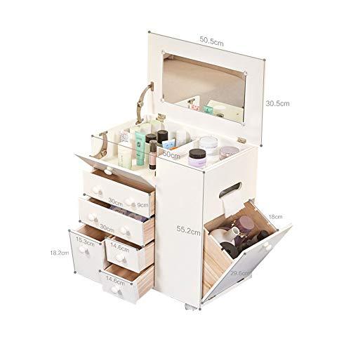 LARRY SHELL Cosmetici Trucco Organizzatore Gioielli Grande Storage Case Display con Casse Elegante Vanità, Bagno Caso Grande capacità, Moglie Fidanzata Figlia