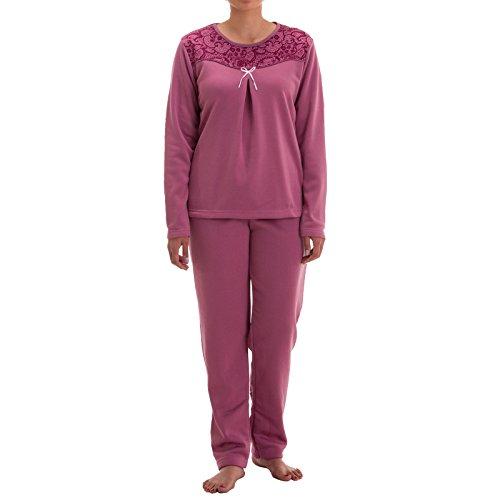 Lucky Damen Thermo Pyjama mit Schleife (XL, Altrosa)