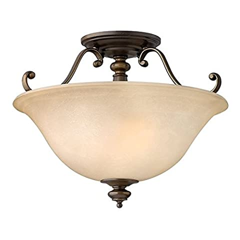 Bronze Semi Flush Ceiling Light with Marble Effect Glass Lamp Shade - Supplied Ready Wired