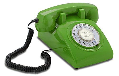 Opis 60s Cable mit Klassischem Deutsche Post Pappeinleger: Retro Telefon im sechziger Jahre Vintage Design mit Wählscheibe und Metallklingel (grün)