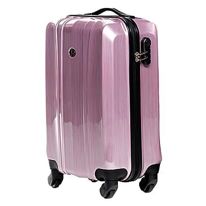 FERG-Handgepck-Koffer-Hartschale-Dijon-Bordgepck-Rollkoffer-55-cm-Reisekoffer-Kabinen-Trolley-4-Rollen-100-ABS-PC-pink