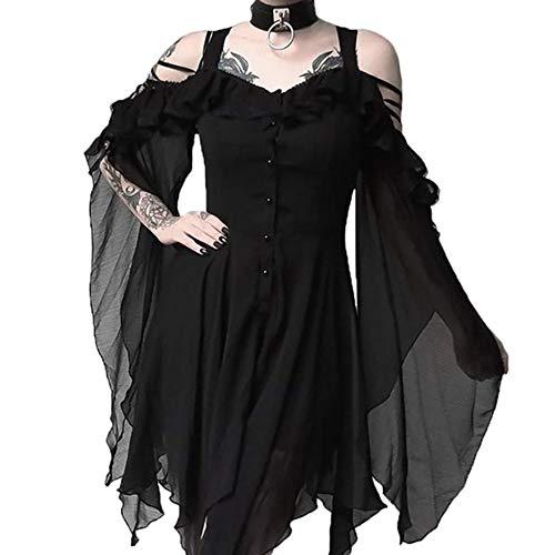 Madmoon Damen Vintage Kleid Langarm Elegant Sexy Gothic Schickes Off Shoulder Kleider Mit Button Und Taschen Mode dunkel verliebt Rüschen Ärmel Schulterfrei Gothic Midi-Kleid (Gothic Kleid Frauen)