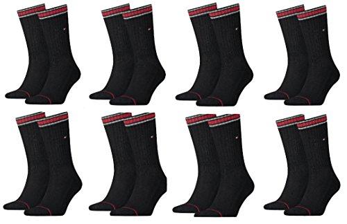 Produktname: TOMMY HILFIGER Herren Sport Socken Sportsocken MIT FROTTEESOHLE 8er Pac (39-42, Black-Roter Ringel)