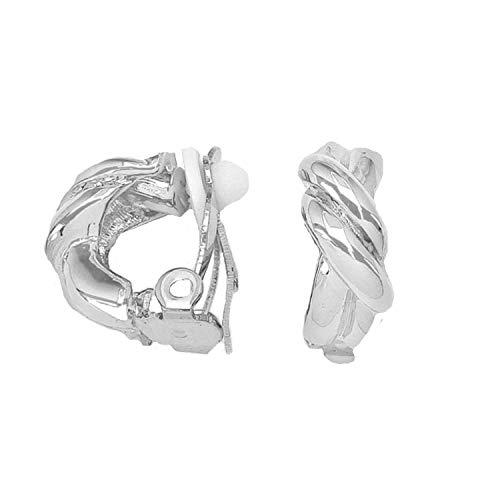 Schmuckanthony Hoernel. Trendige Feine Leichte Ohrclips Clips Clip On Hoop Creolen Kreolen Knoten Design Silber 1,5 cm Lang und 8 mm Breit