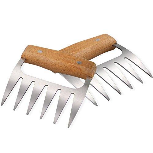 BearTop Fleischkrallen Meat Claws BBQ Gabeln für Pulled Pork & gebratenes Fleisch Premium Qualität aus Holz und Edelstahl | BPA frei | hygienisch | Leichte Reinigung | 2er Set