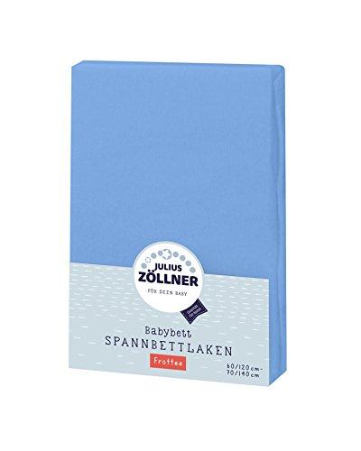 Julius Zöllner 8300113300 - Spannbetttuch Frottee für Kinderbett, Größe: 60x120 cm / 70x140 cm, Farbe: blau