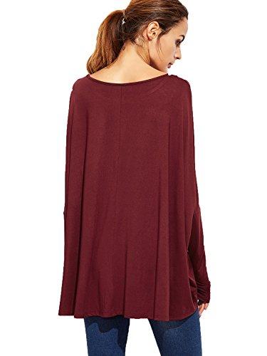 Romwe Damen Übergroß Locker Langarmshirt mit Fledermausärmel Oversized Oberteil Shirt Burgundy