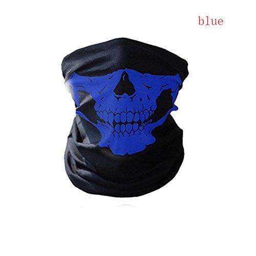 (Eolunt - Halloween-Maske Festival Schädel-Masken-Skelett im Freien Motorrad-Fahrrad-Multifunktions Neck Warmer Geist Halbe Gesichtsmaske Schal [blau])