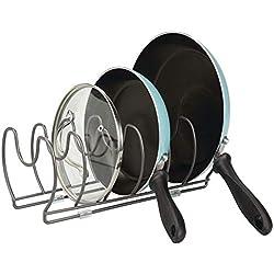 mDesign égouttoir pour casseroles, poêles et couvercles - range-couvercle compact pour ranger ustensiles de cuisine - porte-couvercle peu encombrant - couleur graphite