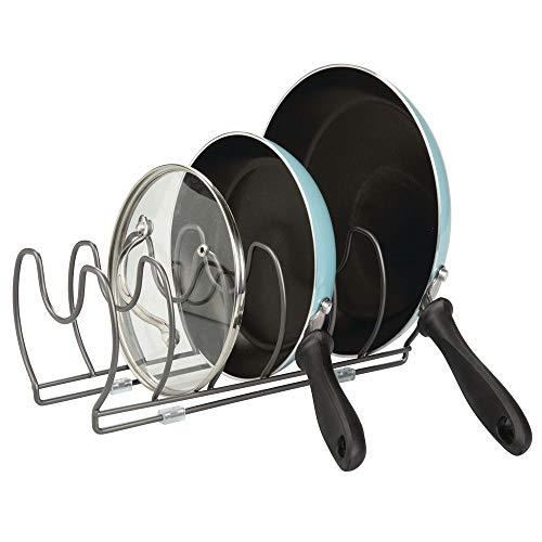 mDesign Geschirrablage für Kochtöpfe, Deckel und Pfannen – kompakter Topfdeckelhalter für den Küchenschrank – platzsparender Ständer für Kochgeschirr aus Metall – graphitfarben - Für Metall Rack Gefrierschrank