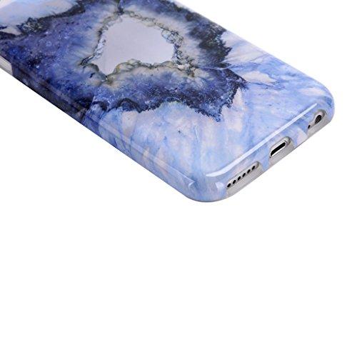 "Hülle Cover iPhone 7 Plus, IJIA Ultra Dünnen Muster Marmor Natur Weiß Grau TPU Weich Silikon Hülle Schutzhülle Schale Case Tasche für Apple iPhone 7 Plus (5.5"") + 24K Gold Aufkleber color-KM4"