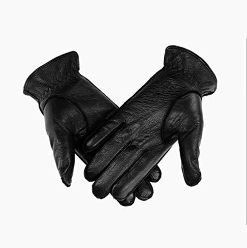 XYRONG Top Layer Lederhandschuhe, Herrenleder Touch Screen High-End Business Casual Geschenke Plus Samtverdickung Handschuhe, Gentleman Original-Luxuxgeschenk,L