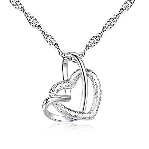 Liquidazione offerte, fittingran regalo romantico dei monili della collana del pendente della catena d'argento del cristallo del doppio del cuore doppio classico delle donne (argento-3)